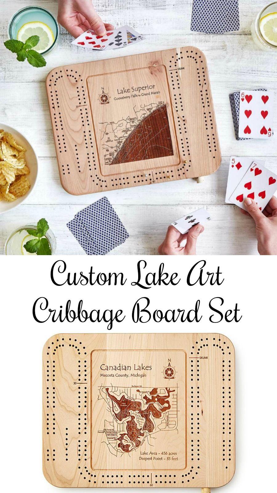 Custom lake art cribbage board celebrate the great lake in