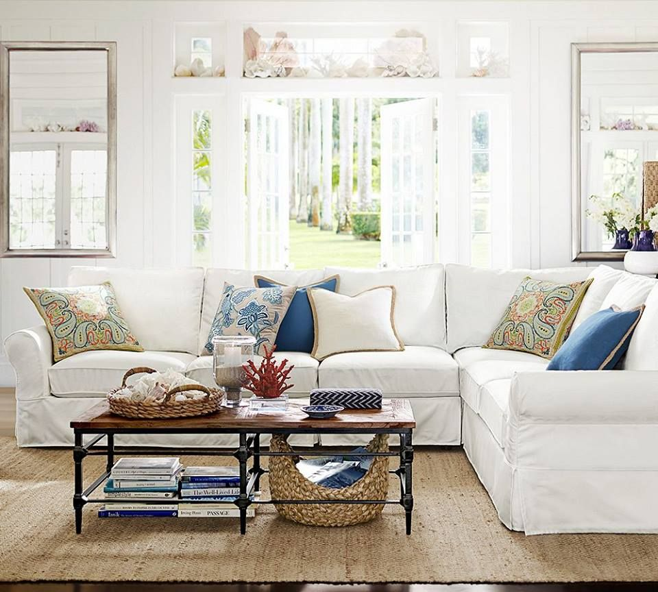 Beau Shabby Chic Slipcover Sofa From Pottery Barn   Where To Shop For Furniture  Online
