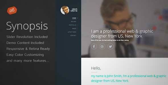 Download and review of Synopsis - Resume\/CV and Portfolio Theme - professional synopsis for resume