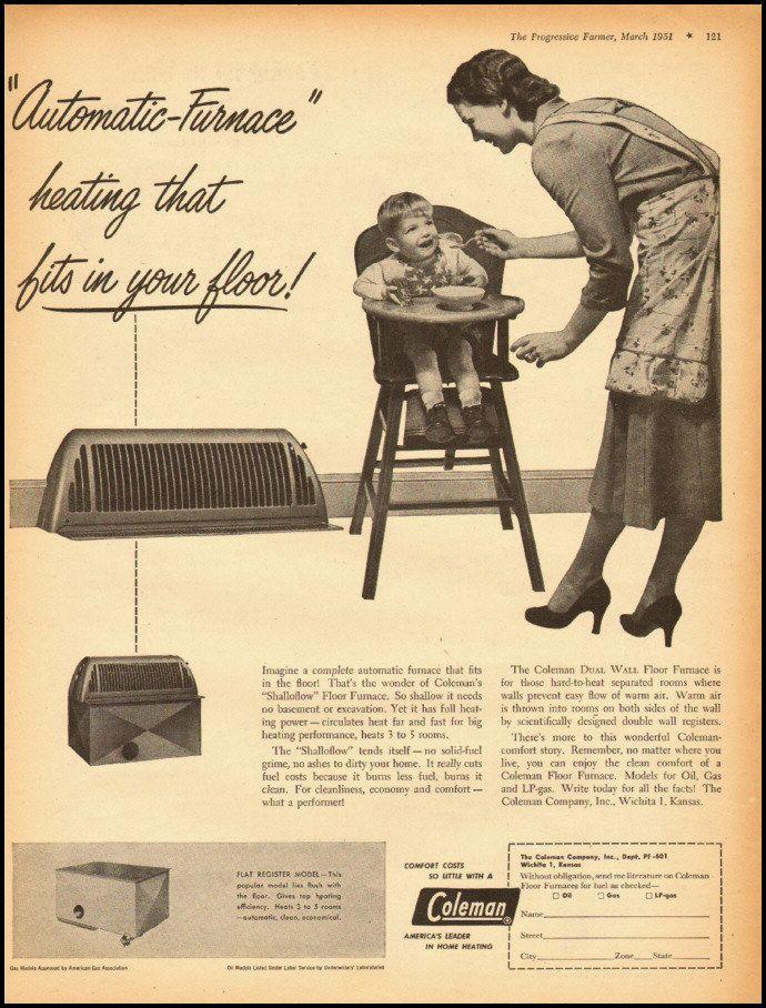 1951 Vintage Ad For Coleman Floor Furnace 032412 | EBay