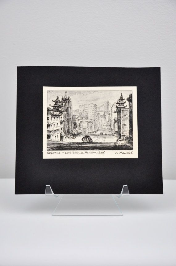 Black and white print of china town sanfrancisco california by e handel ready