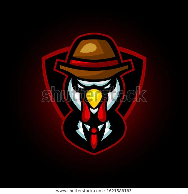 Turkey Chicken Mafia Clothes Mascot Logo Stock Vector