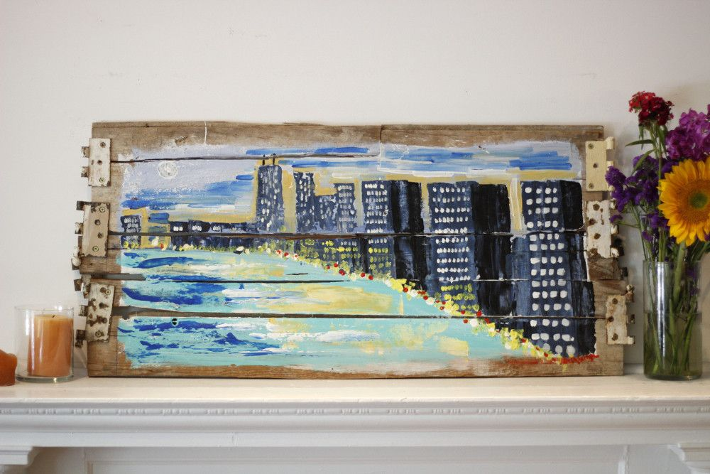 Night-time on Lake Shore Drive sky line of Chicago Painting on wood from a house on west side of Chicago, built before 1950. Artist: Micah Sawinski