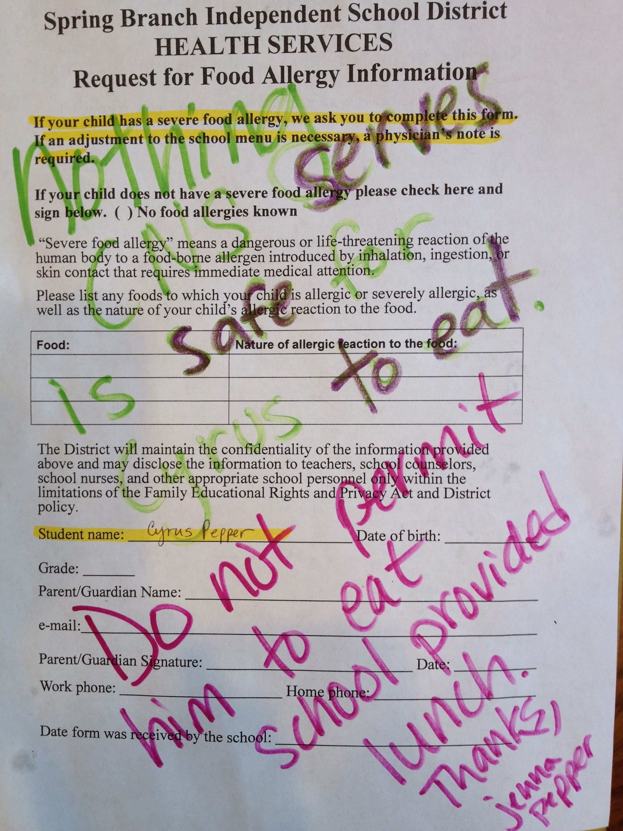 Food Allergy Form Response school lunch isn't safe to eat