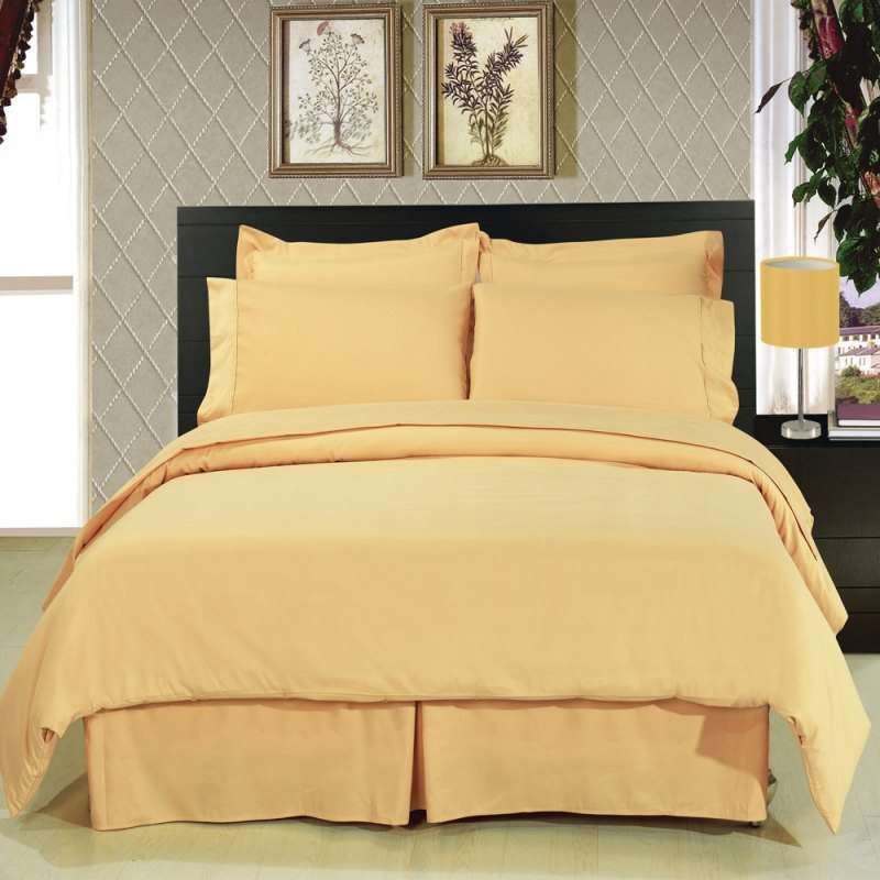 Royal Tradition 8 Pc Solid Gold Bedding Set Bedroom