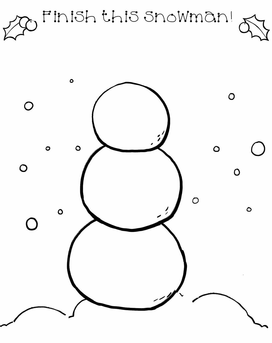 Snowman Drawing Activity For Print 1 152 1 452 Pixels