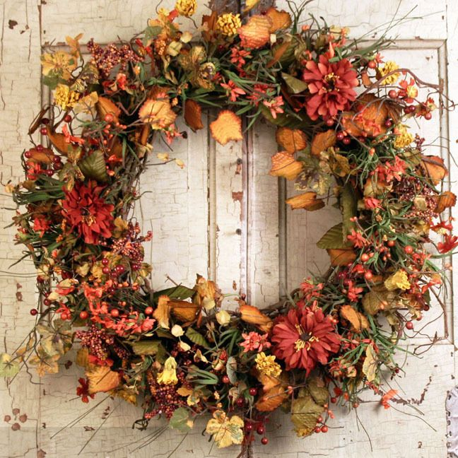Highland Fall Silk Door Wreath 22 Inch Door Wreaths Wreaths Autumn Decorating