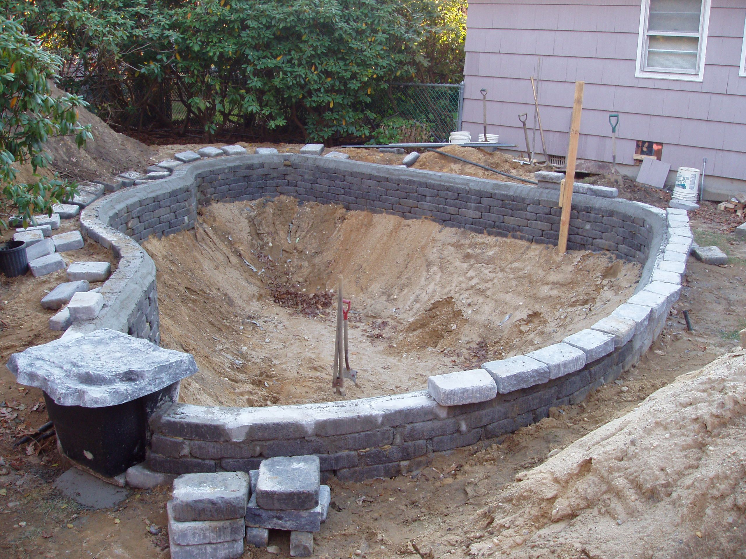 Pond design and construction google search aquaponics for Concrete koi pond construction