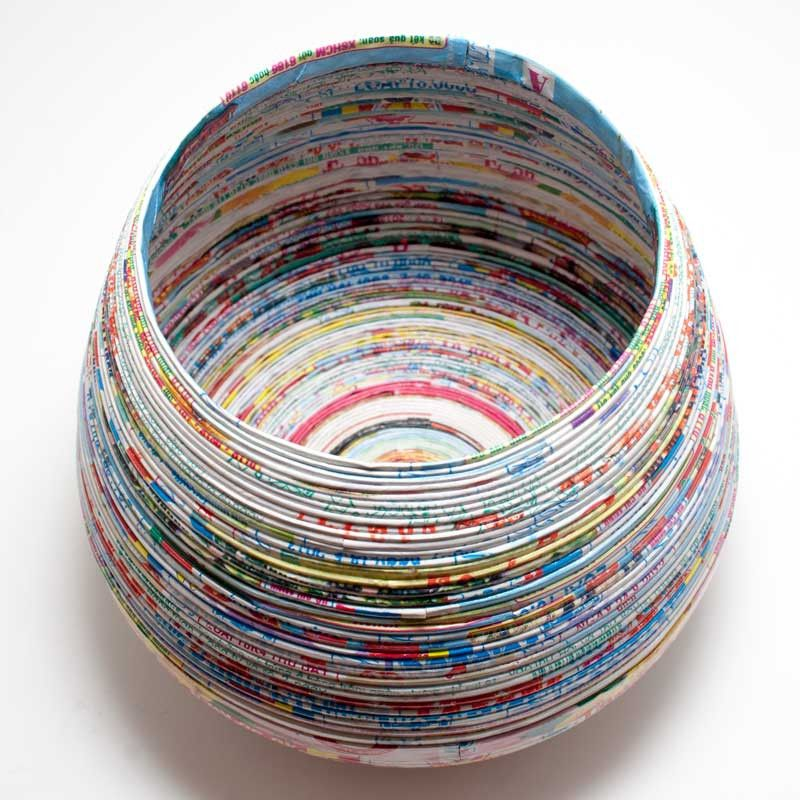 Lantern moon recycled paper yarn bowl from hill country for Recycled paper lantern