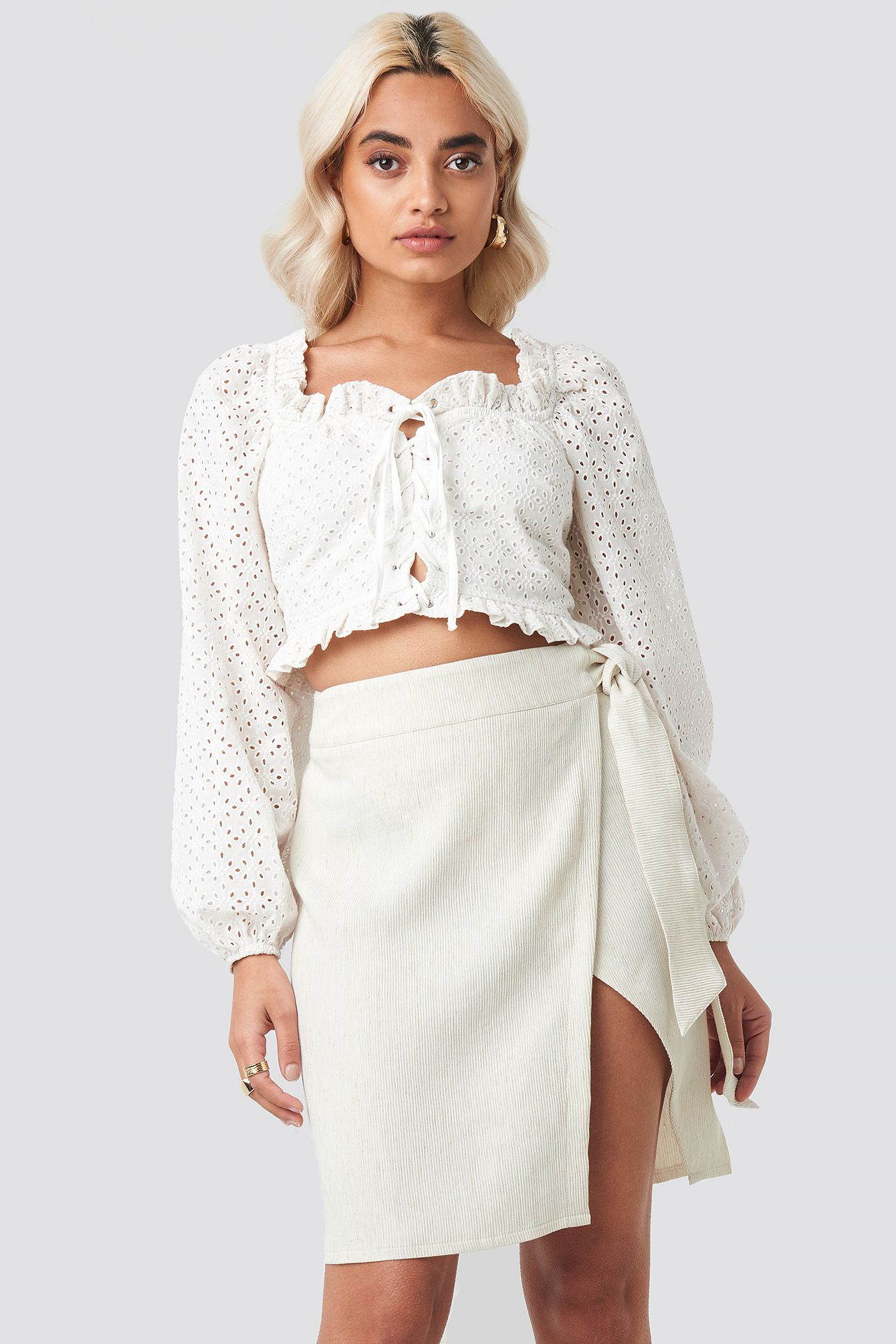 Belted Wrap Mini Skirt Beige