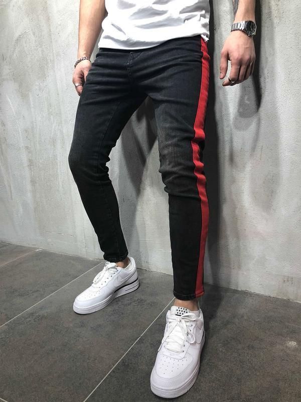 Men S Streetwear Jeans With Red Side Stripe Streetwear