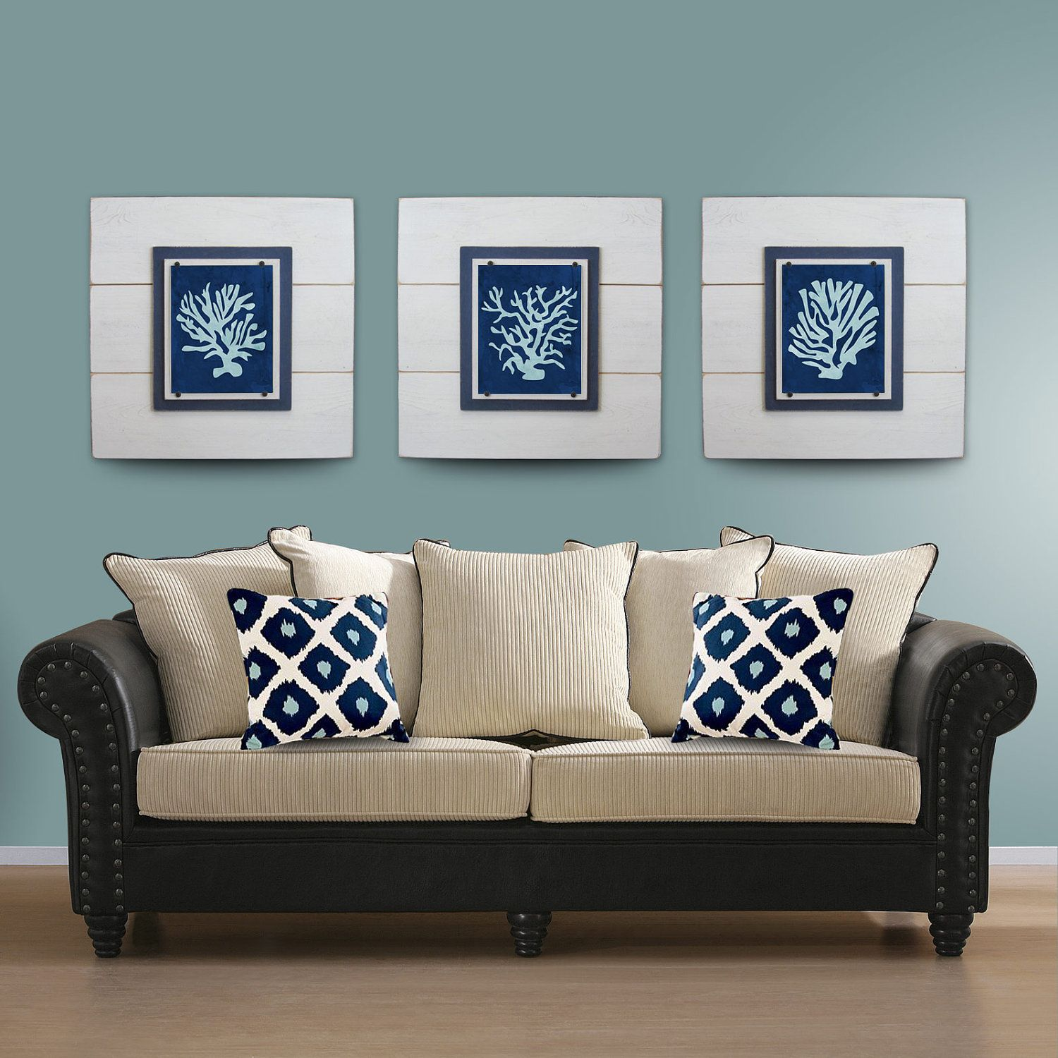 Coral wall art set of white framed x xtra large x house