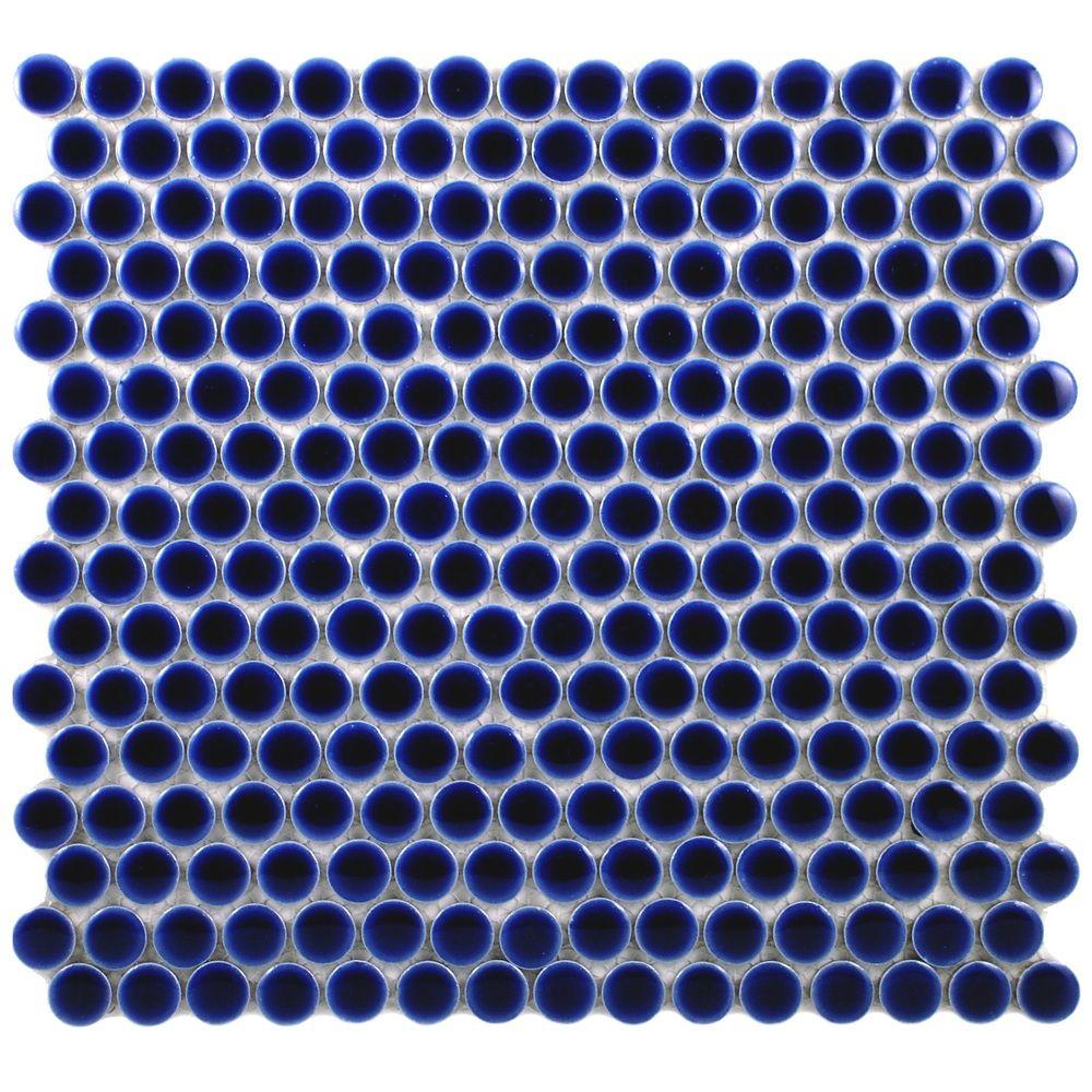 SomerTile 12.25x12-in Penny 3/4-in Cobalt Blue Porcelain Mosaic Tile ...