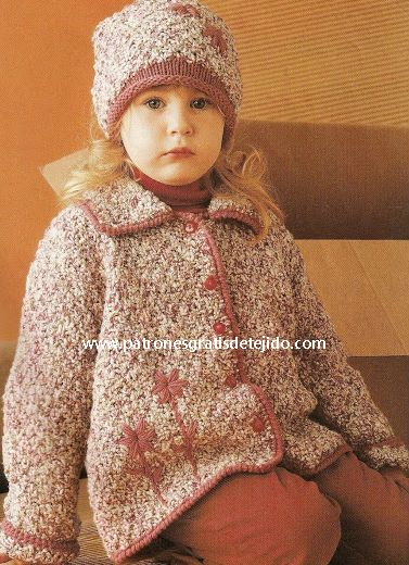 Conjunto chaqueta y gorro para niña tejido con dos agujas y flores ...