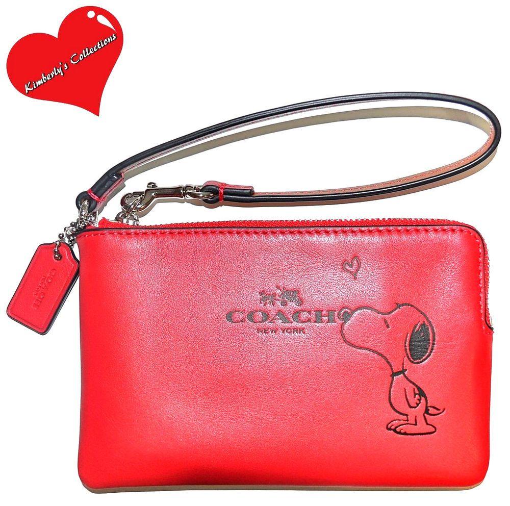 Coach Peanuts Snoopy Wristlet Bag Ltd Ed Red Leather Wallet Gift Box Nwt Ebay