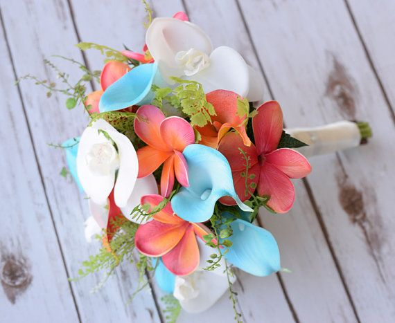Wedding Natural Touch Coral Peach Calla Lily with Turquoise Satin Ribbon Silk Boutonniere