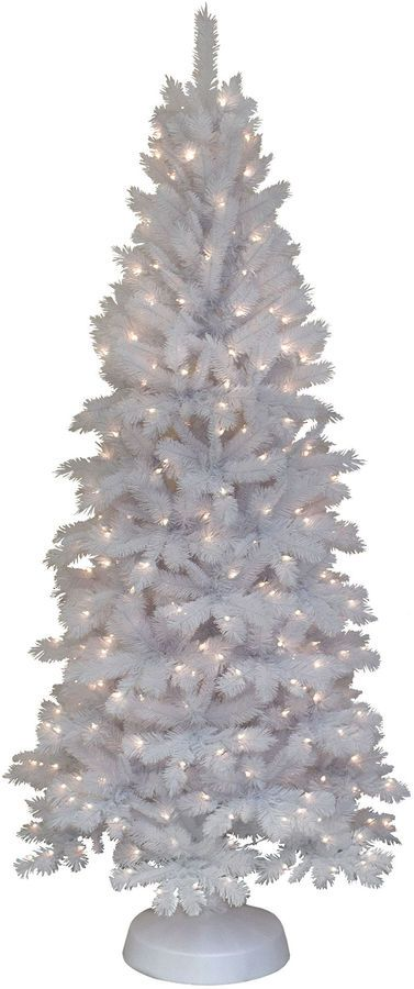 mountain king 7 pre lit slim white alaskan christmas tree - Mountain King Christmas Trees