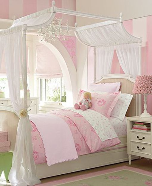 Kids Bedroom Luxurious Master Design is important With Feminine Pink White  Canopy Bed On White Wooden Bed Platform Feats Compact Nightstands Aside  Beside. so much to love about this room   Little Girls Rooms   Pinterest
