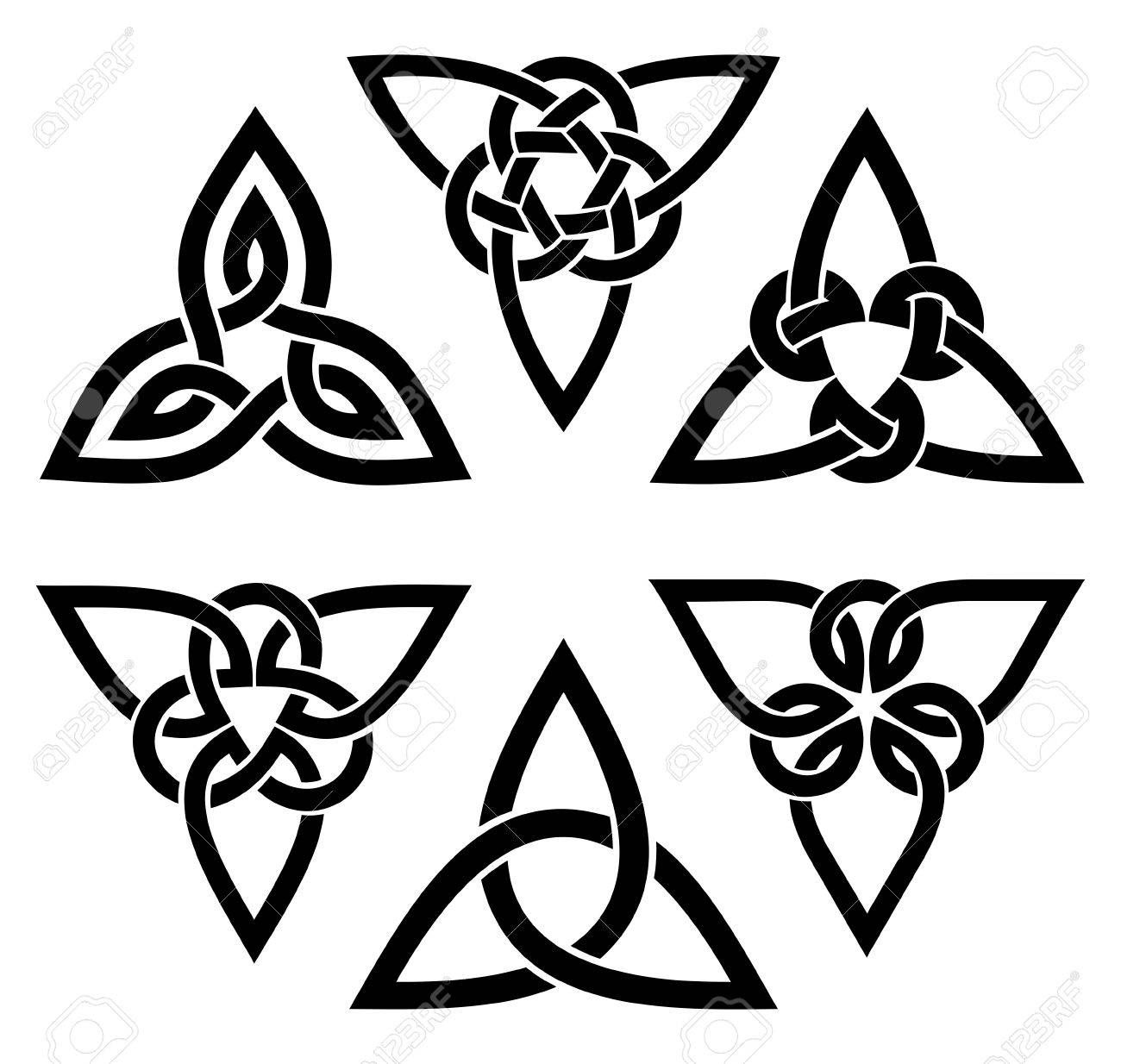 Vector Celtic Trinity Knot Set Black On White Henna Tats