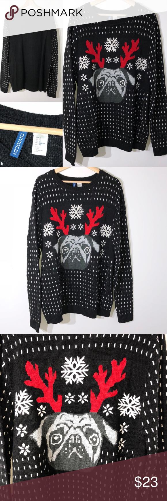 c25f8742da71 H & M Christmas sweater size XL pug antlers 1516 #N Brand: H & M CHRISTMAS  SWEATER SNOWFLAKES WITH IMAGE OF PUG DOG WEARING ANTLERS.