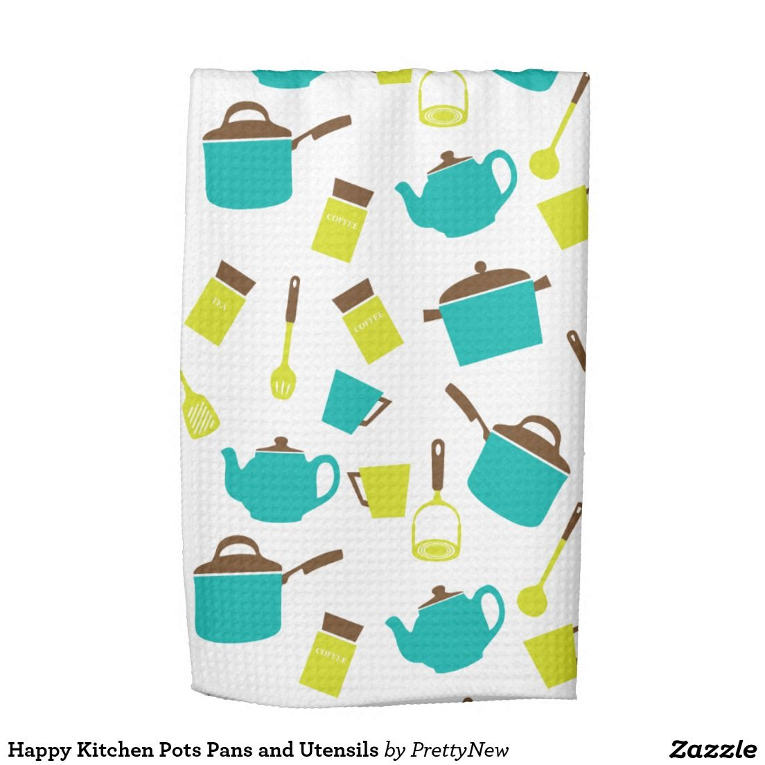 Happy Kitchen Pots Pans and Utensils Kitchen Towel - This is a fun ...