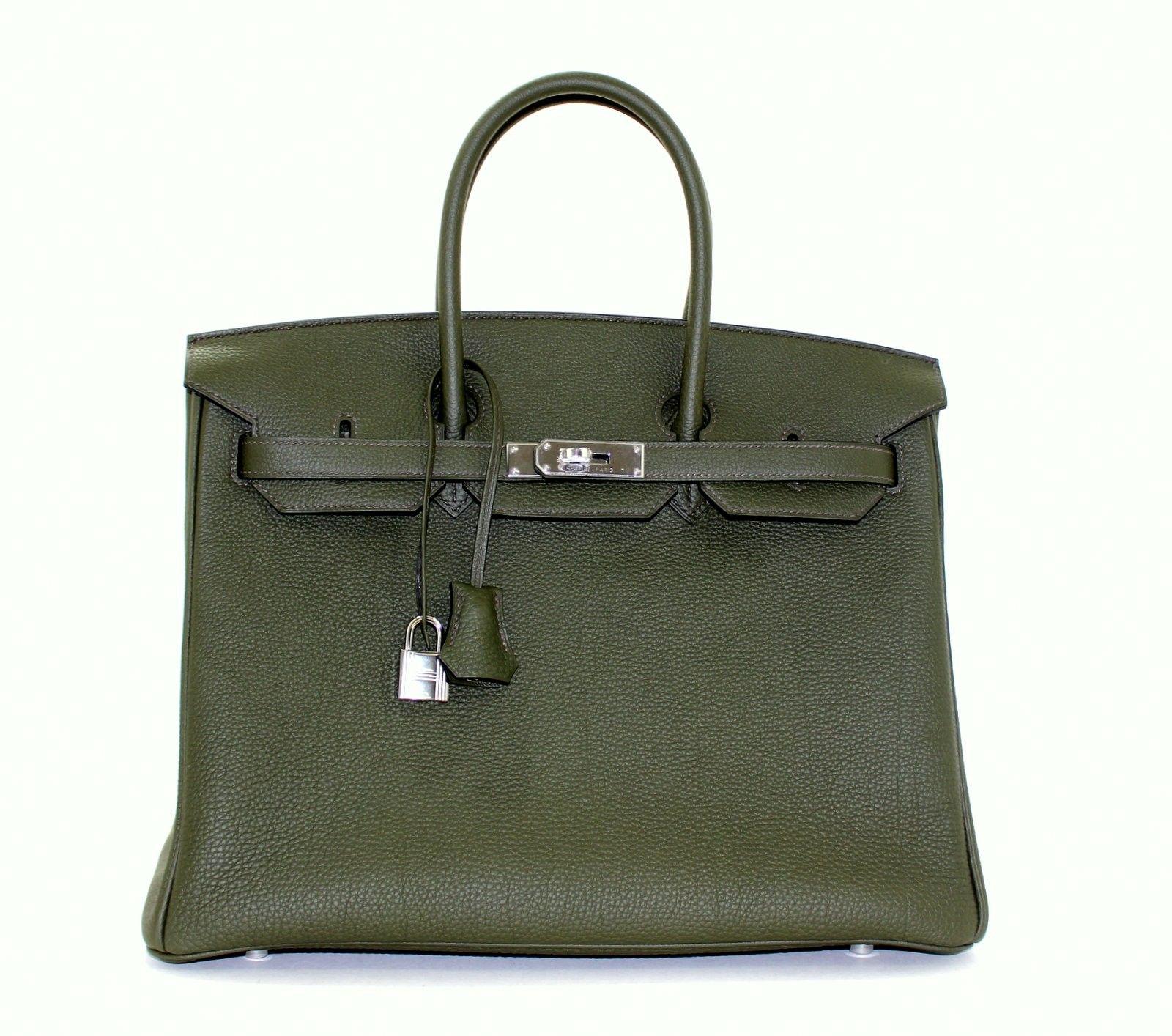 7917d38ef97 Hermès Vert Olive-Green color-Togo 35 cm Birkin with Palladium ...