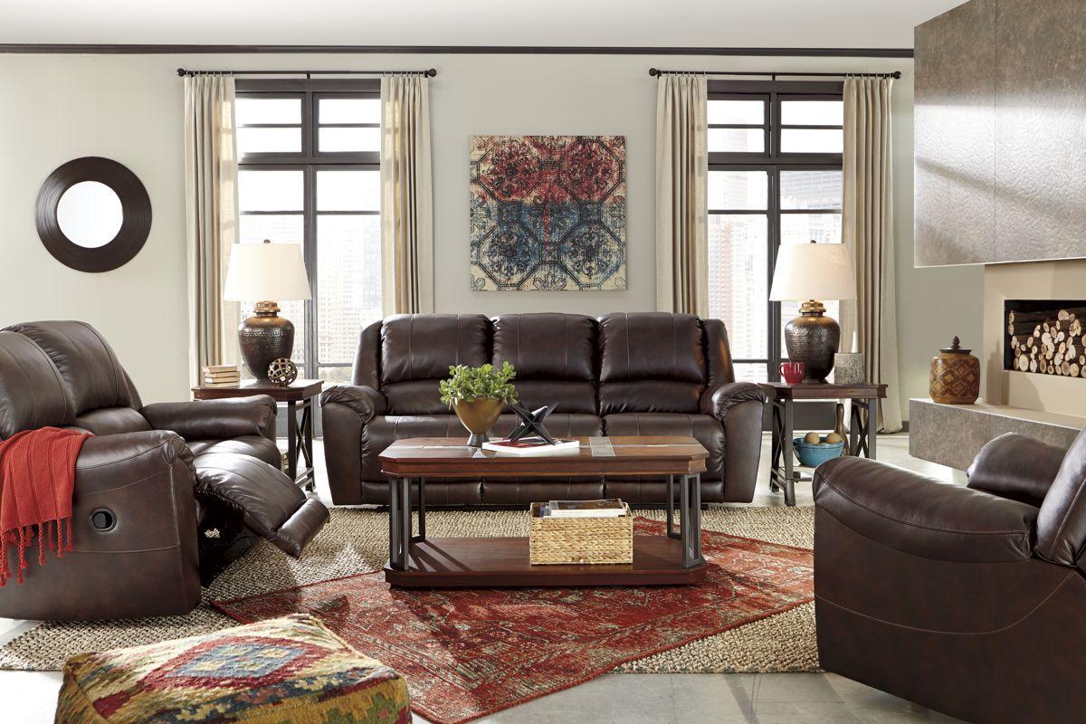 Yancy Contemporary Walnut Grain Leather Vinyl Living Room Set Living Room Sets Living Room Furniture Arrangement Reclining Sofa Living Room