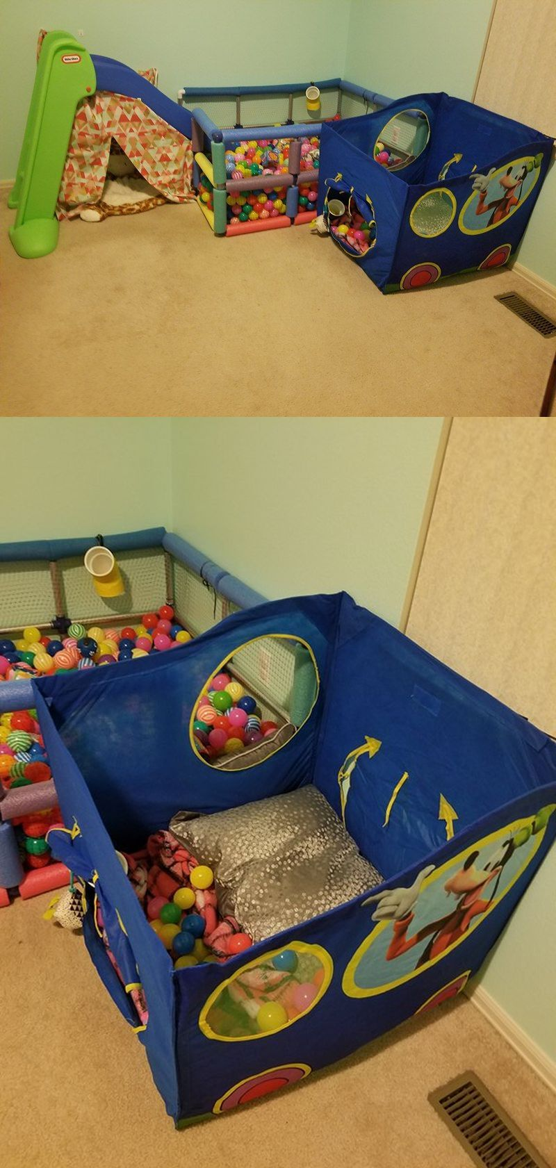 Our ball pen/ ball pit with PVC pipes and an easy fun exit for our & Our ball pen/ ball pit with PVC pipes and an easy fun exit for our ...