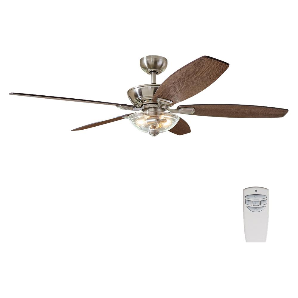 Home Decorators Collection Connor 54 In Led Brushed Nickel Dual Mount Ceiling Fan With Light Kit And Remote Control 51847 The Home Depot In 2020 Ceiling Fan With Light Ceiling Fan Light