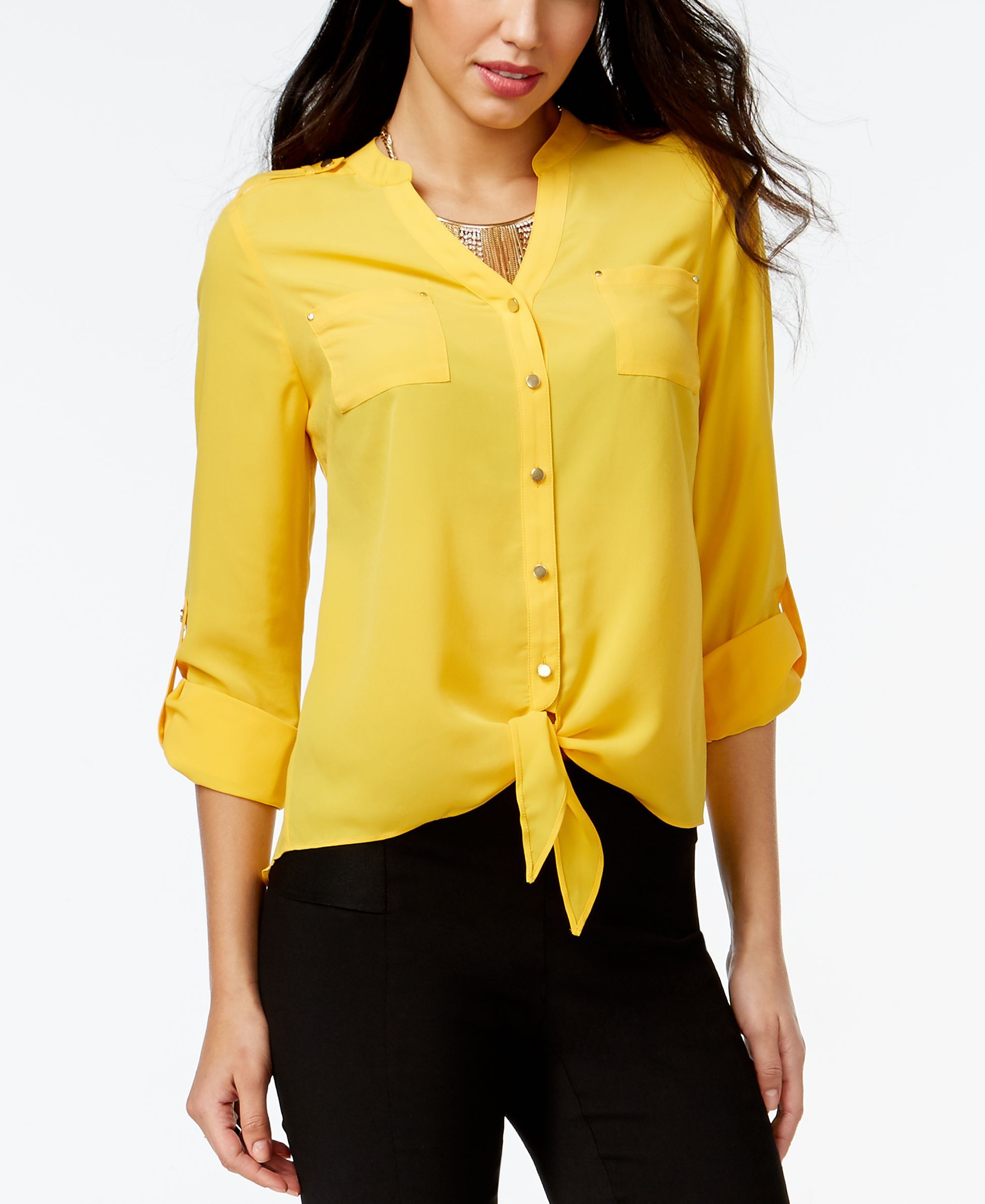 Thalia Sodi Solid Tie Front Blouse Only At Macy S Blouse In 2018