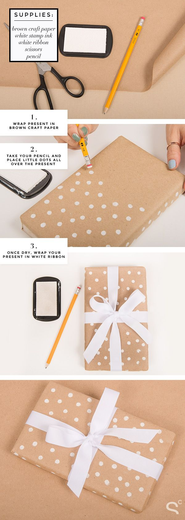 Easy DIY Polka Dot Wrapping Paper! | StyleCaster, 7 Days of Gift Wrapping Ideas | More ideas here: http://stylecaster.com/tag/gift-wrapping-ideas/
