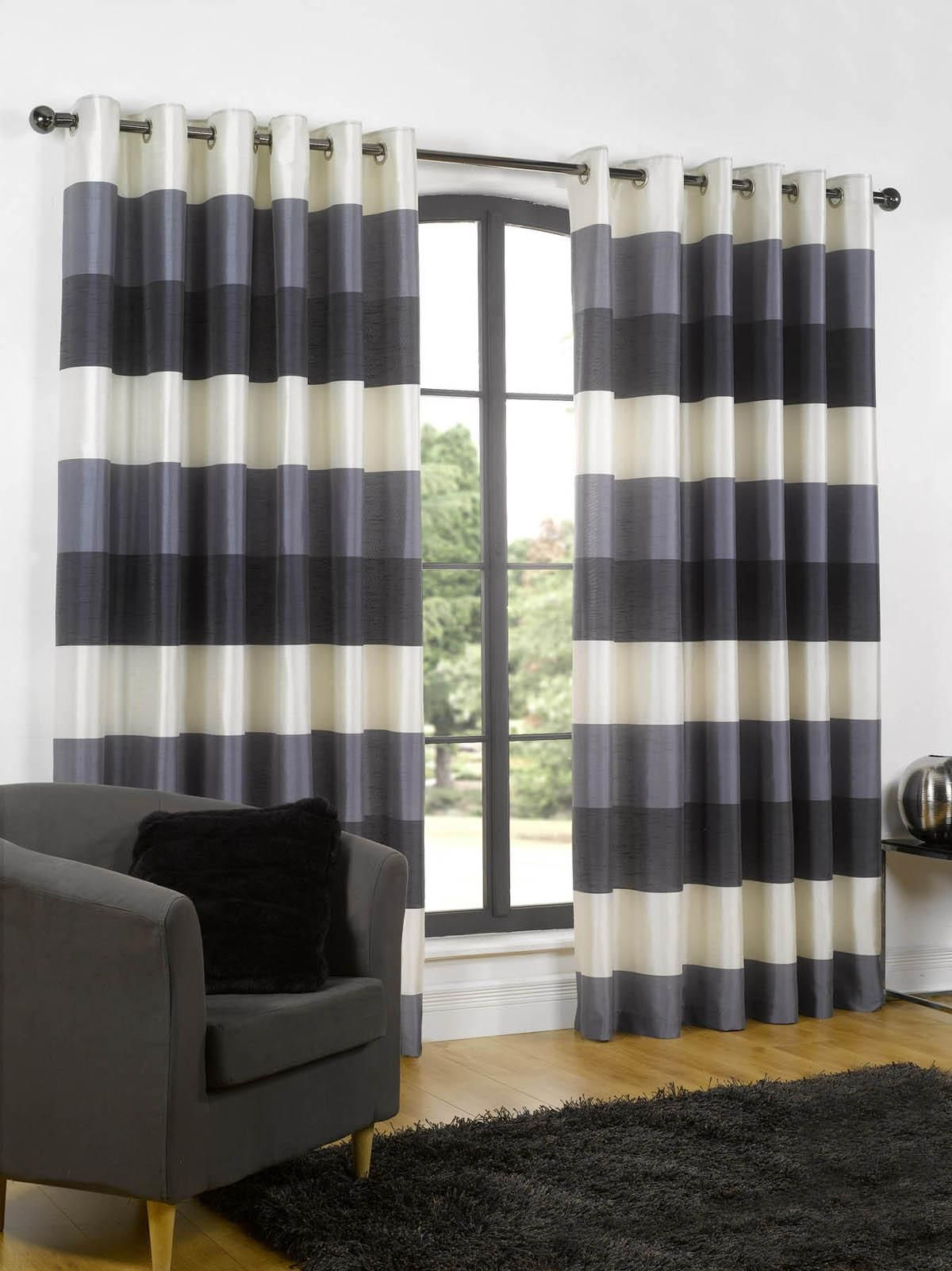 Modern Wide Horizontal Stripes Of Tonal Navy And Cream Rio Ready Made Eyelet Lined Curtains In Polyester