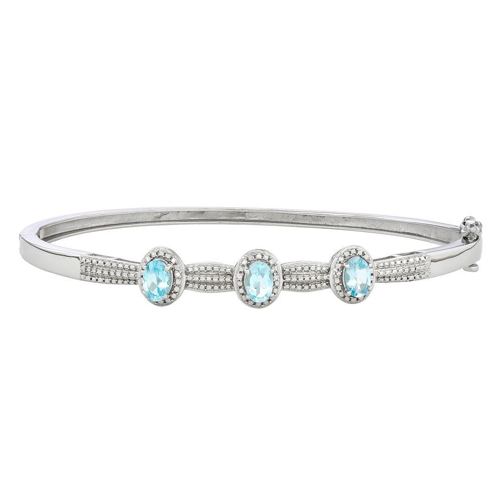 6a98229ec88 Sterling Silver Gemstone & Diamond Accent Bangle Bracelet, Women's, Blue