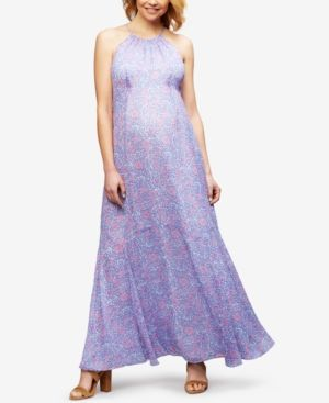 35395e2020728 A Pea In The Pod Maternity Floral-Print Maxi Dress - Lilac Floral XS ...