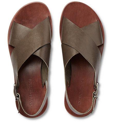 e7fb07038106 Armando Cabral Wide-Strap Leather Sandals