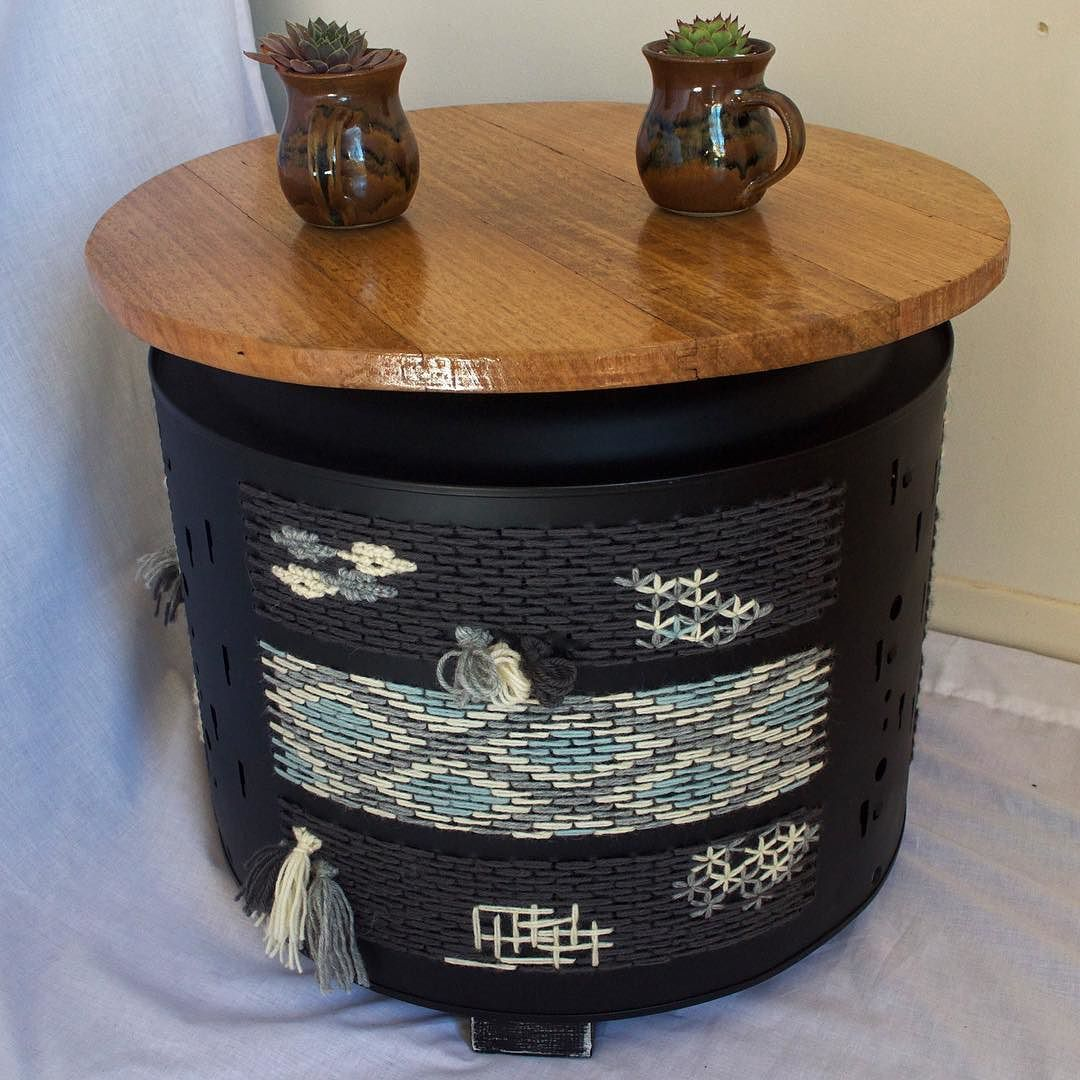 I am super excited about this finished piece! I have made this black drum in inspiration of weave artworks each side is a different weave and it looks amazing. This was a favourite at Daylesford market!  The drums now come in the choice of coffee table or cushion top (excluding the green drum) as I have now created a versatile design that allows the lids to be interchangeable  by thesixmonthproject