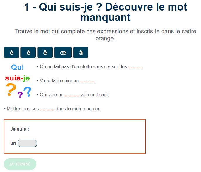 Jeu De Francais Qui Suis Je Decouvre Le Mot Manquant Exercices De Vocabulaire Jeux Educatifs En Ligne Jeux De Francais