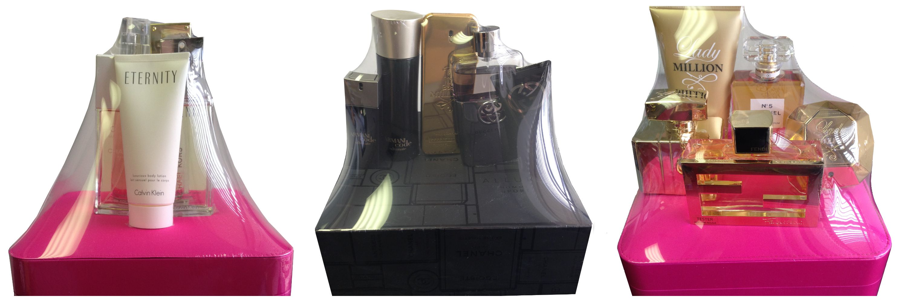 Bid on three different perfume baskets with perfumes & colognes from the collection of GUCCI, CHANNEL, GIORGIO ARMANI, CALVIN KLEIN, GIVENCHY, MICHAEL KORS, FENDI & PACO RABANNE.  Thanks to Macy's!