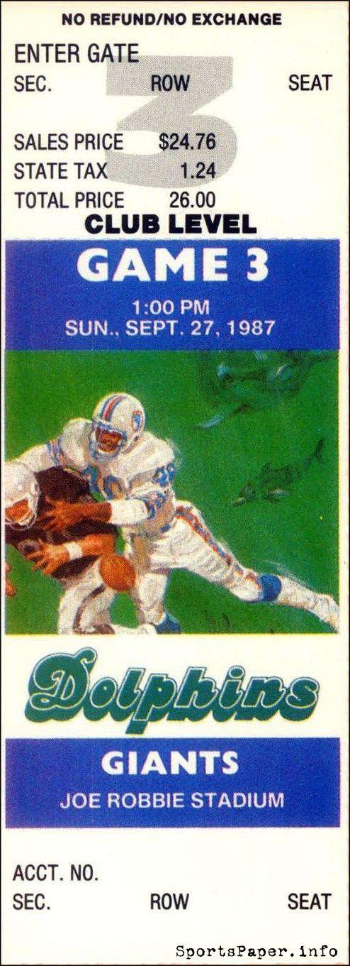Miami Dolphins vs. New York Giants ticket, 9/27/1987