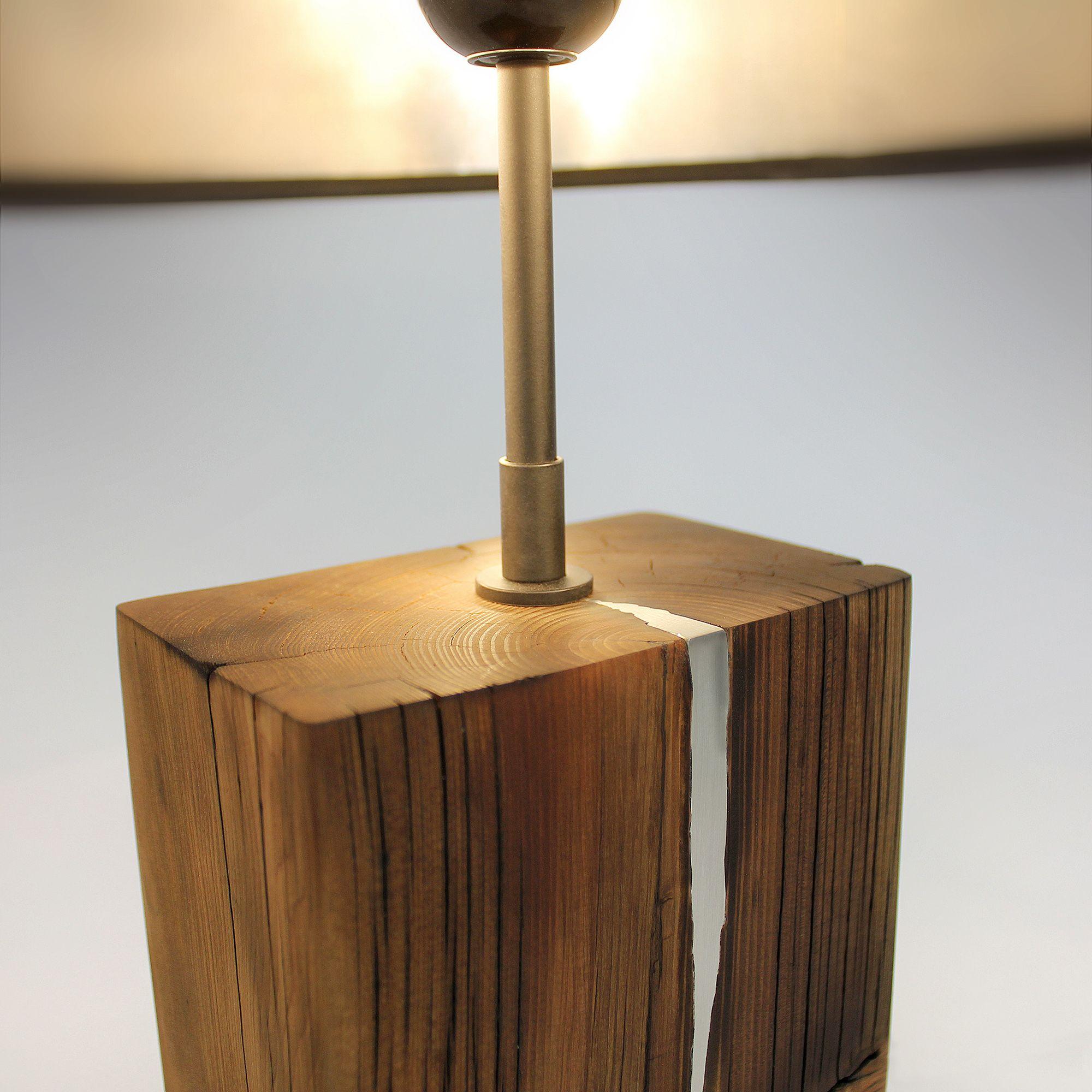 Reclaimed Wood Beam Table Lamp Metal Inlay Touch Base Custom Etsy In 2021 Reclaimed Wood Beams Table Lamp Wood Black Lampshade Distressed wood table lamp