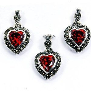 Three Hearts' Sterling Silver Red CZ, Marcasite Earrings & Pendant Set
