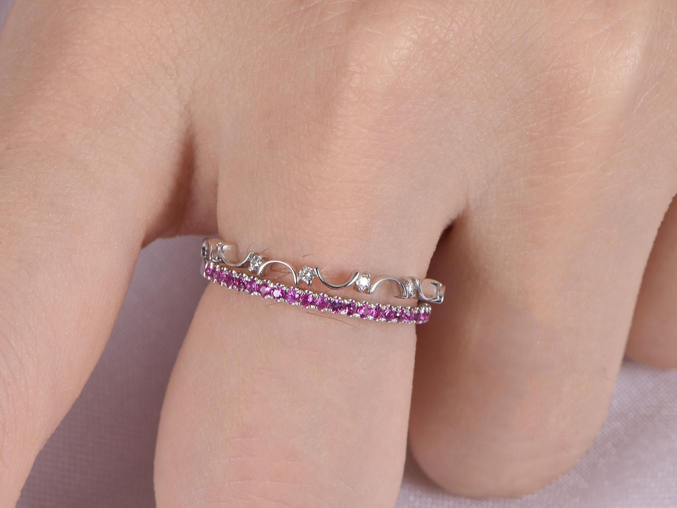 Wedding Ring Set Diamond Wedding Band Ruby Ring Solid 14k White Gold ...