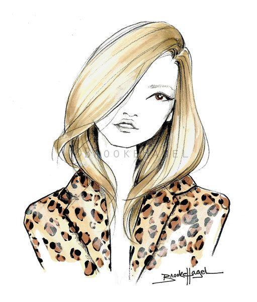 Kate Moss Fashion Illustration by Brooke Hagel by brooklit