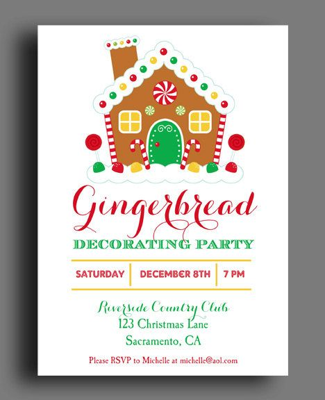20 Gingerbread House Decorating Party Invitations