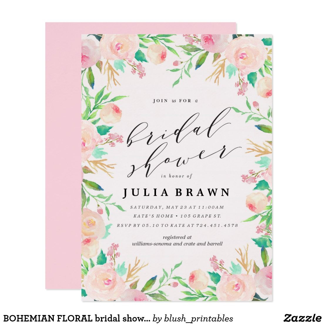 BOHEMIAN FLORAL bridal shower invitation | Bridal Shower Invitations ...