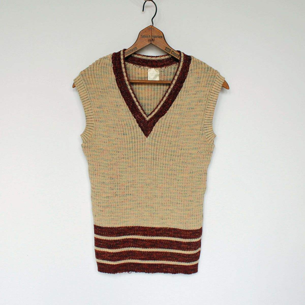 70's Sweater Vest / Mens / Tan Heather / Brown & Orange Stripes ...
