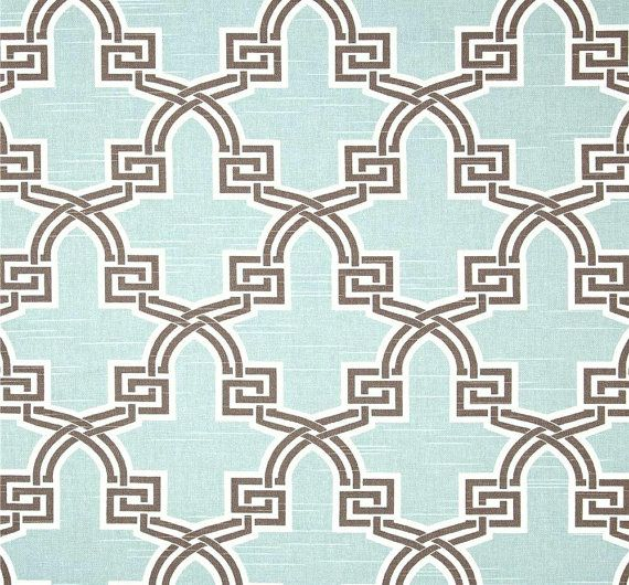 Modern Aqua U0026 Brown Geometric Fabric By The Yard, Premium Wide Cotton Duck  Drapery Fabric · Home Decor ...