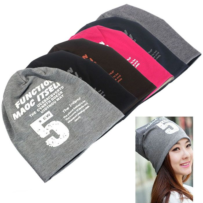 Womens Mens Unisex Five Hip-Hop Baggy Beanie Cotton Blend Hats Cap ... f8b954d95fb9