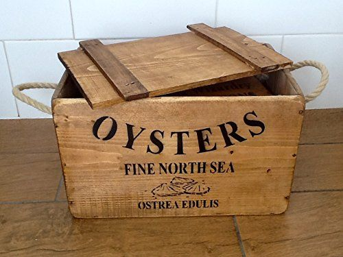 North Sea Oysters Lidded Crate Vintage Style Wooden Storage Box Veg Fruit By Orchard Lane Interiors Wooden Boxes Crates Oysters