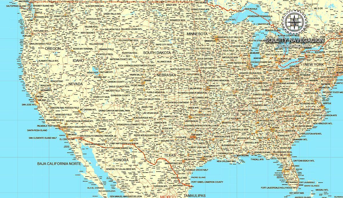 Road Map Us Canada USA + Canada vector map printable Road map, GPS correct (Mercator